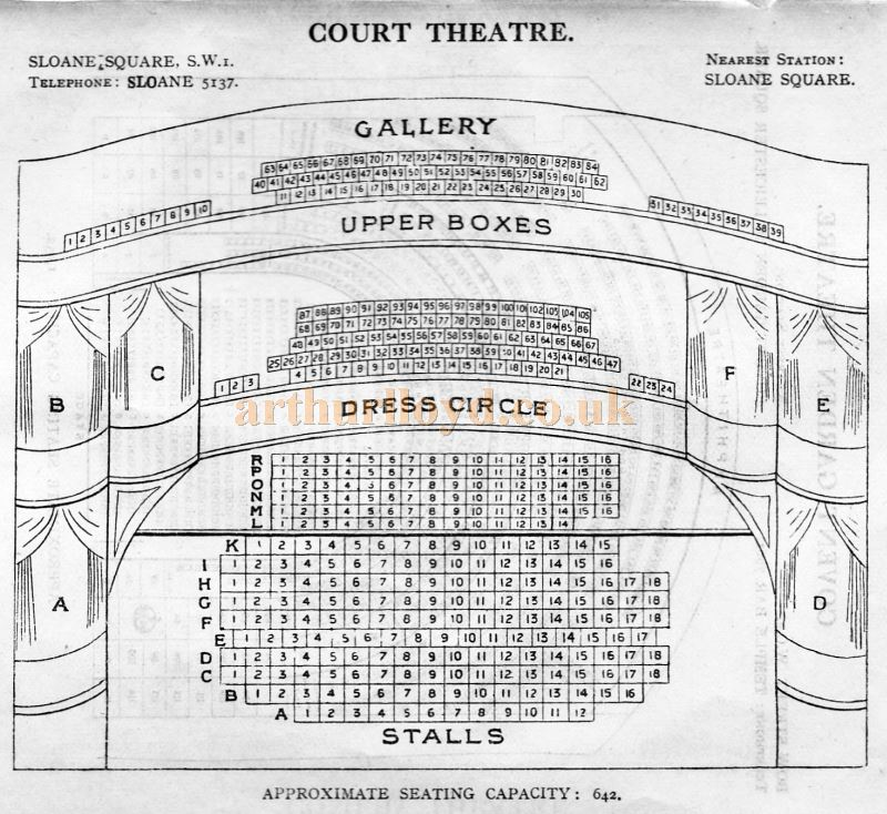 A Seating Plan for the Court Theatre - From 'Who's Who in the Theatre' published in 1930 - Courtesy Martin Clark. Click to see more Seating Plans from this publication.