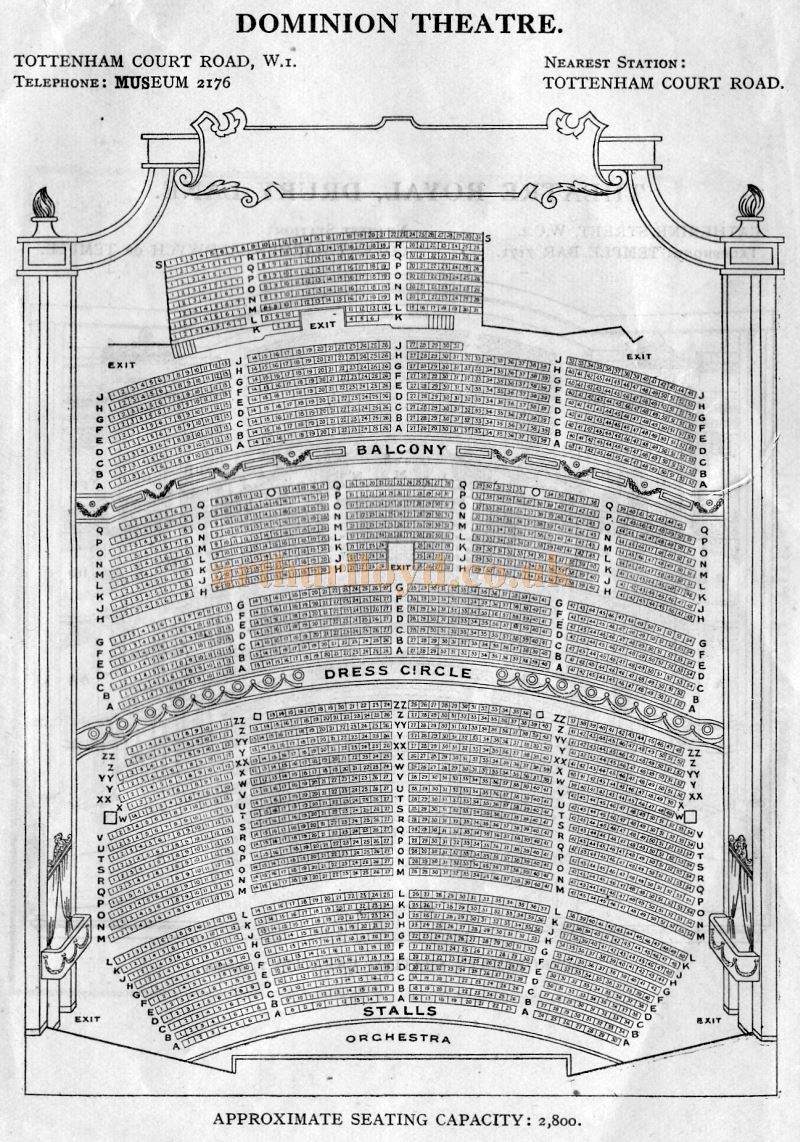 A Seating Plan for the Dominion Theatre - From 'Who's Who in the Theatre' published in 1930 - Courtesy Martin Clark. Click to see more Seating Plans from this publication.