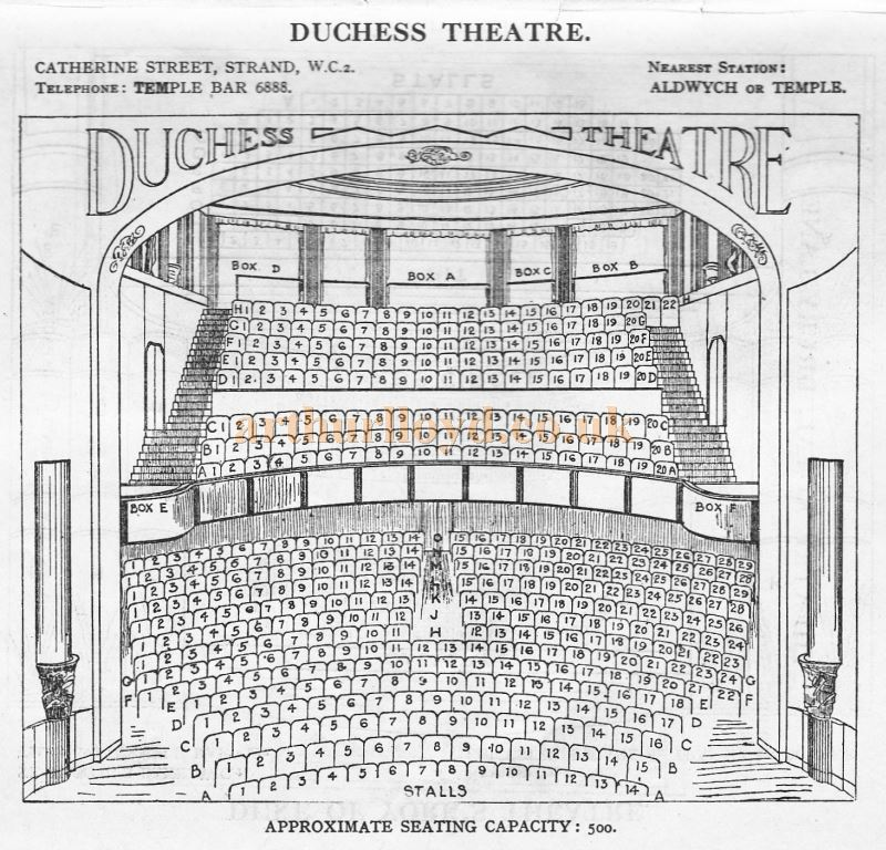 A Seating Plan for the Duchess Theatre - From 'Who's Who in the Theatre' published in 1930 - Courtesy Martin Clark. Click to see more Seating Plans from this publication.