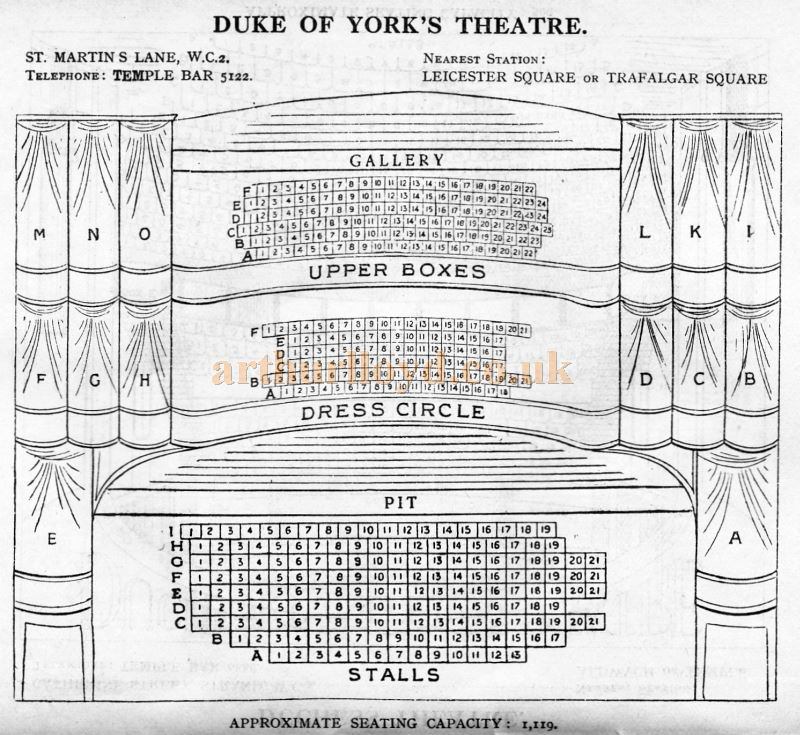A Seating Plan for the Duke Of York's Theatre - From 'Who's Who in the Theatre' published in 1930 - Courtesy Martin Clark. Click to see more Seating Plans from this publication.