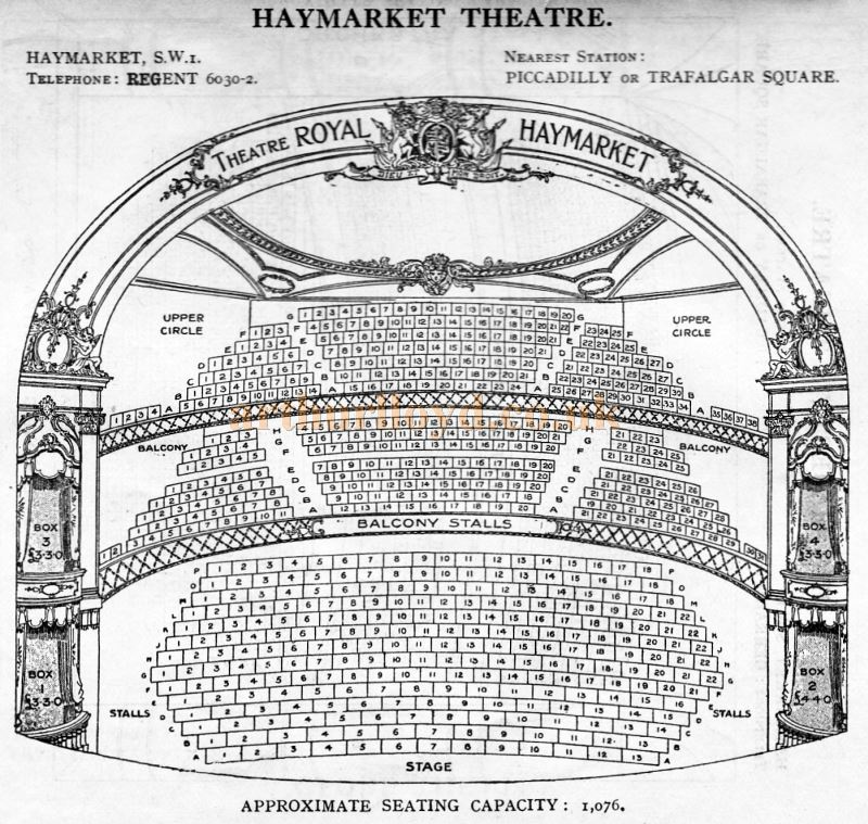 A Seating Plan for the Haymarket Theatre - From 'Who's Who in the Theatre' published in 1930 - Courtesy Martin Clark. Click to see more Seating Plans from this publication.