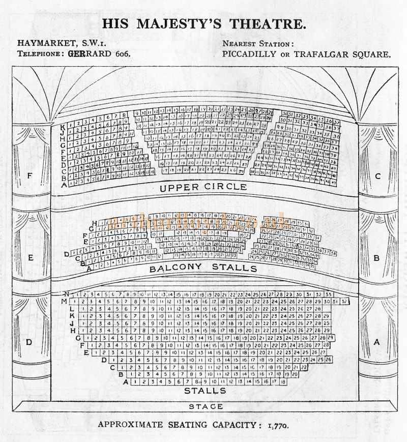 A Seating Plan for His Majesty's Theatre - From 'Who's Who in the Theatre' published in 1930 - Courtesy Martin Clark. Click to see more Seating Plans from this publication.