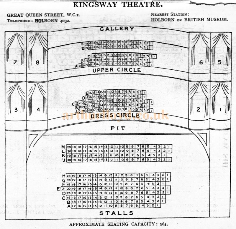A Seating Plan for the Kingsway Theatre - From 'Who's Who in the Theatre' published in 1930 - Courtesy Martin Clark. Click to see more Seating Plans from this publication.
