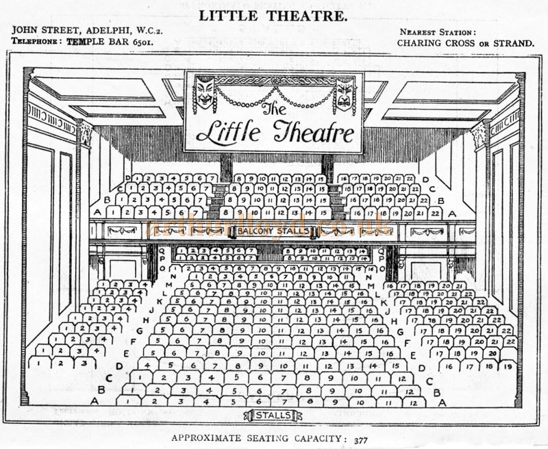 A Seating Plan for the Little Theatre - From 'Who's Who in the Theatre' published in 1930 - Courtesy Martin Clark. Click to see more Seating Plans from this publication.