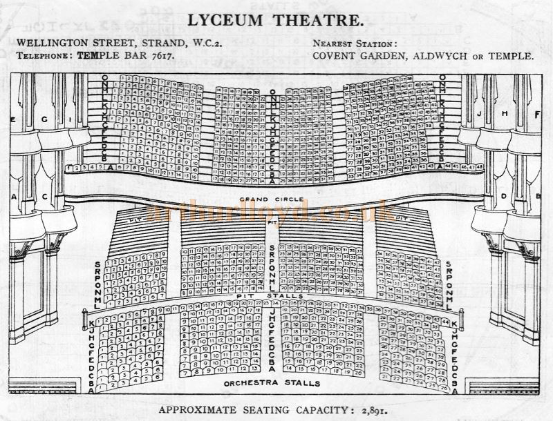 A Seating Plan for the Lyceum Theatre - From 'Who's Who in the Theatre' published in 1930 - Courtesy Martin Clark. Click to see more Seating Plans from this publication.