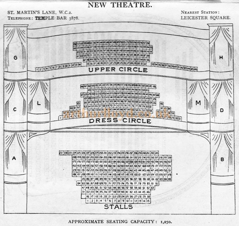 A Seating Plan for the New Theatre - From 'Who's Who in the Theatre' published in 1930 - Courtesy Martin Clark. Click to see more Seating Plans from this publication.