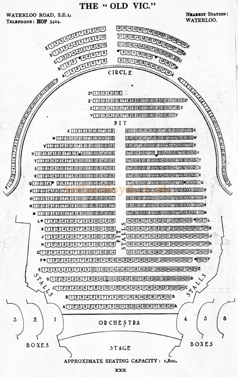 A Seating Plan for the Old Vic Theatre - From 'Who's Who in the Theatre' published in 1930 - Courtesy Martin Clark. Click to see more Seating Plans from this publication.