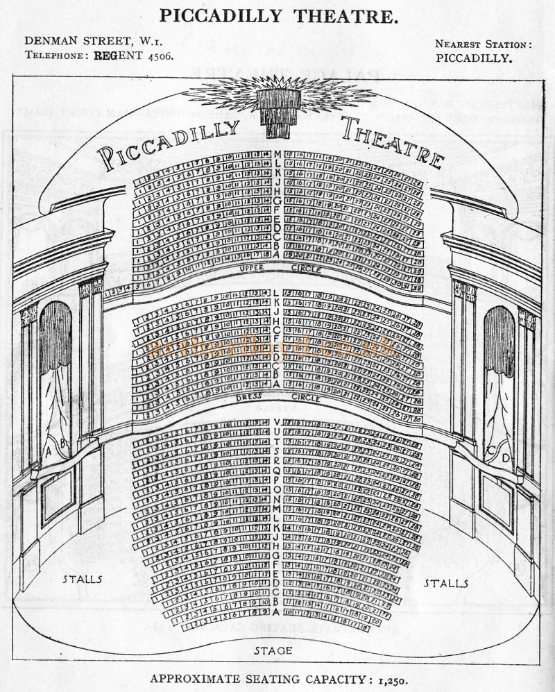 A Seating Plan for the Piccadilly Theatre - From 'Who's Who in the Theatre' published in 1930 - Courtesy Martin Clark. Click to see more Seating Plans from this publication.