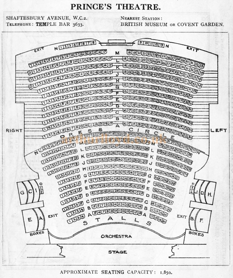A Seating Plan for the Princes Theatre - From 'Who's Who in the Theatre' published in 1930 - Courtesy Martin Clark. Click to see more Seating Plans from this publication.