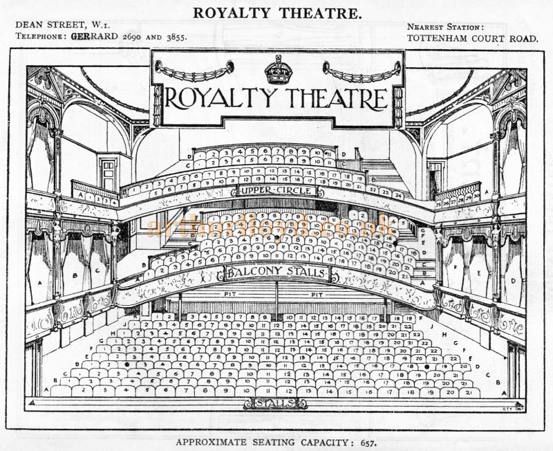 A Seating Plan for the Royalty Theatre - From 'Who's Who in the Theatre' published in 1930 - Courtesy Martin Clark. Click to see more Seating Plans from this publication.