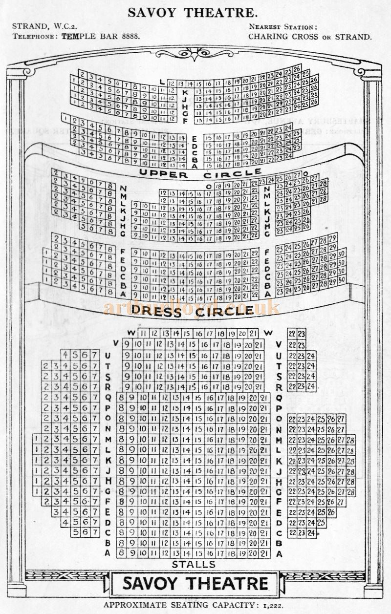 A Seating Plan for the Savoy Theatre - From 'Who's Who in the Theatre' published in 1930 - Courtesy Martin Clark. Click to see more Seating Plans from this publication.