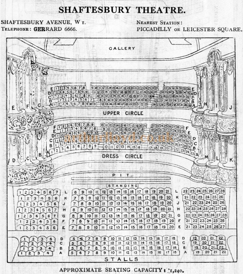 A Seating Plan for the Shaftesbury Theatre - From 'Who's Who in the Theatre' published in 1930 - Courtesy Martin Clark. Click to see more Seating Plans from this publication.