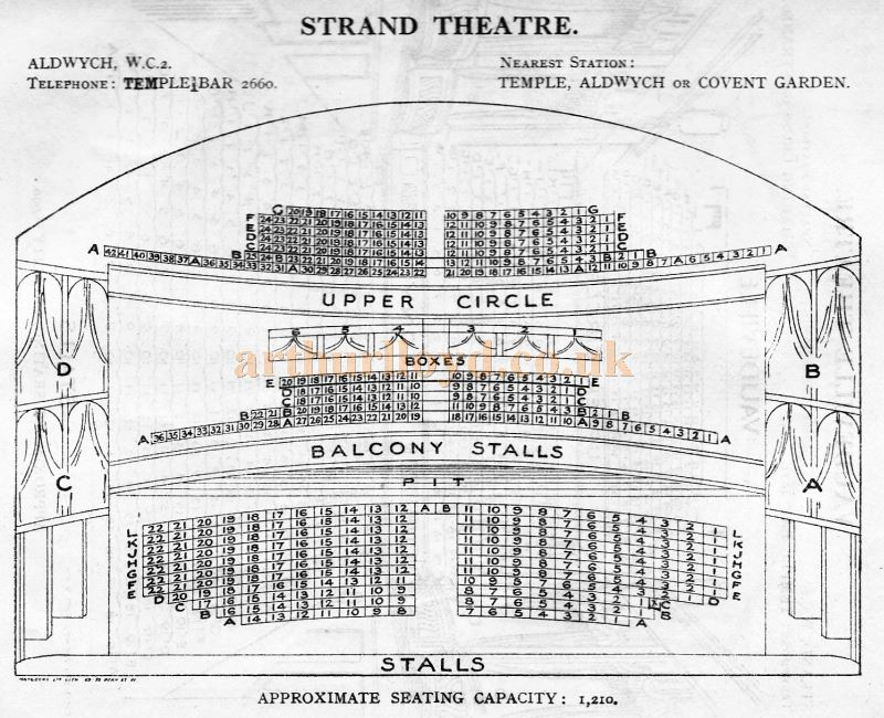 A Seating Plan for the Strand Theatre - From 'Who's Who in the Theatre' published in 1930 - Courtesy Martin Clark. Click to see more Seating Plans from this publication.