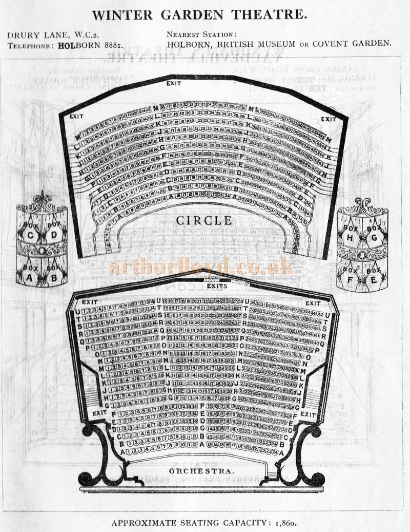A Seating Plan for the Winter Garden Theatre - From 'Who's Who in the Theatre' published in 1930 - Courtesy Martin Clark. Click to see more Seating Plans from this publication.