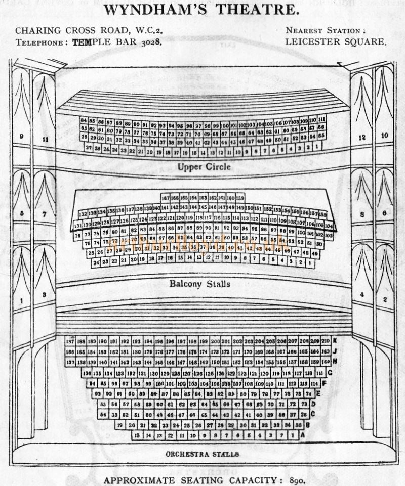 A Seating Plan for the Wyndham's Theatre - From 'Who's Who in the Theatre' published in 1930 - Courtesy Martin Clark. Click to see more Seating Plans from this publication.