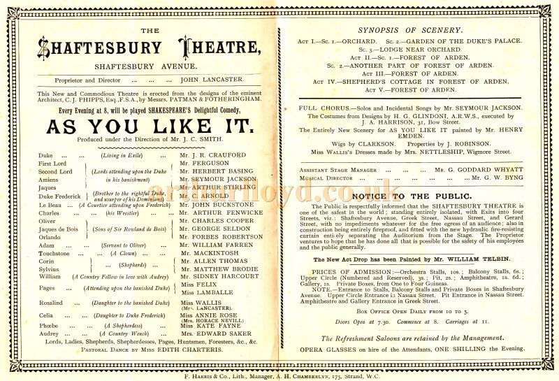 Cast Details from the opening programme for 'As You Like It'  at the Shaftesbury Theatre on the 20th of October 1888.