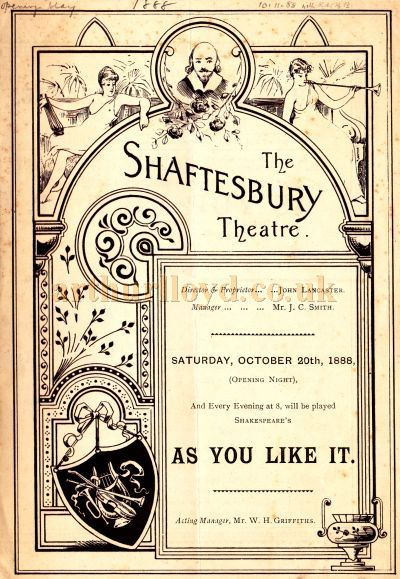 The opening programme for 'As You Like It'  at the Shaftesbury Theatre on the 20th of October 1889.