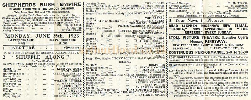 Details of a programme for 'Shuffle Along' at the Shepherds Bush Empire, in association with the London Coliseum, on Monday June the 25th 1923.