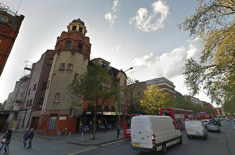 A Google StreetView image showing the three Theatres built side by side on Shepherd's Bush Green, the Shepherd's Bush Empire, Pykes Cinematograph Theatre and the Pavilion - Click to Interact.