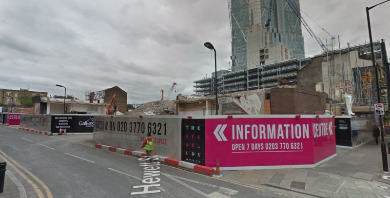 A Google StreetView Image of the site of the Curtain Theatre during redevelopment in 2016 - Click to Interact