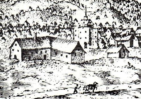 A Drawing showing the Curtain Theatre at the centre of the image with a flag flying - From 'A View of the Cittye of London from the North' Circa 1600.