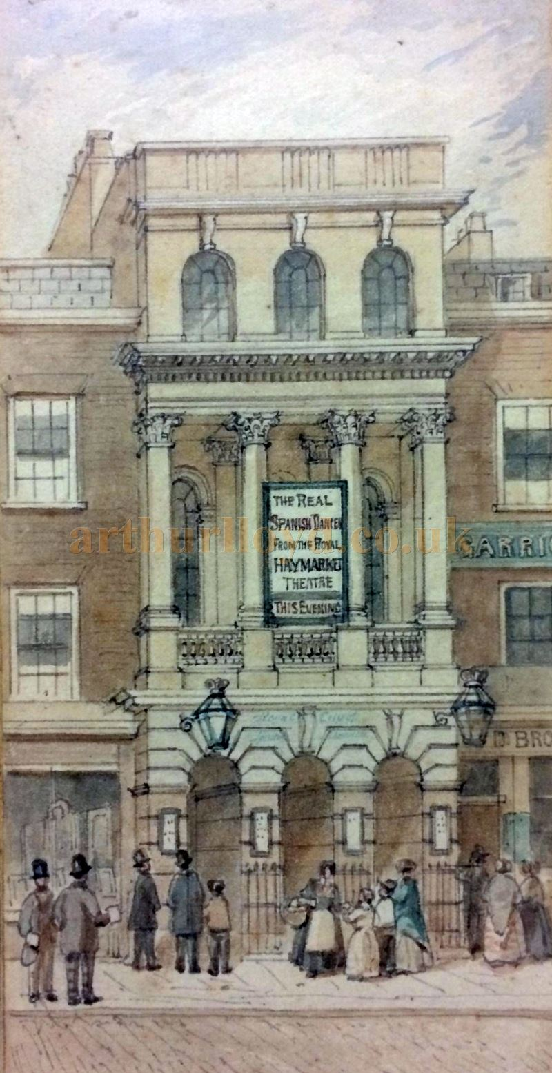 A very rare watercolour depicting the Royal City of London Theatre by the 19th century artist J. Findlay - Courtesy John Ramm.
