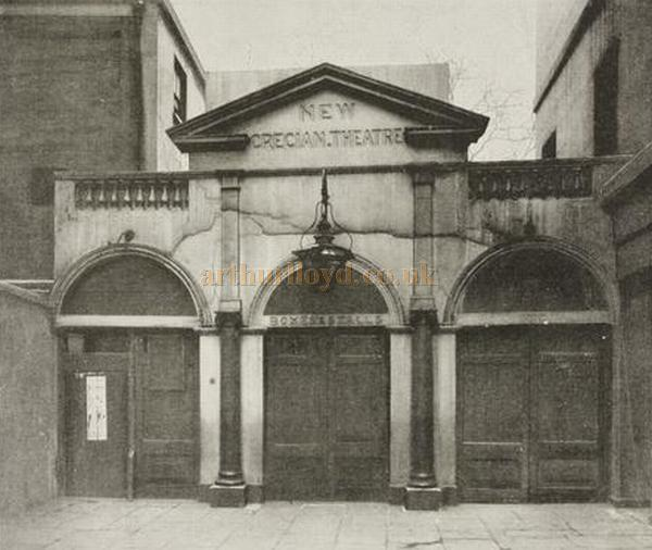 The original Grecian Theatre as remodeled from the Grecian Saloon, in a photograph printed in 'The Sketch' December 21st, 1898