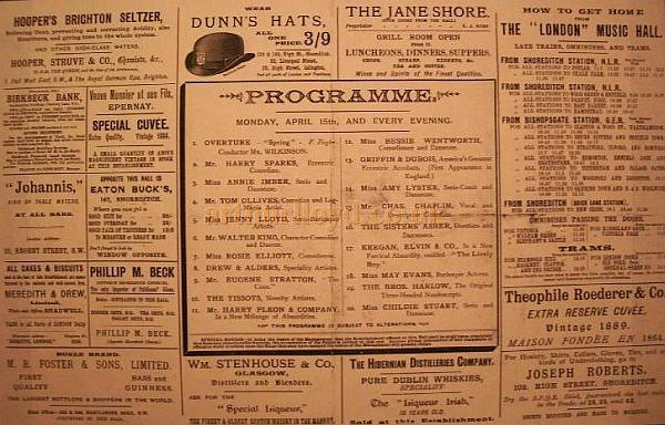 Programme for the London Music Hall  - Courtesy Catherine Kent