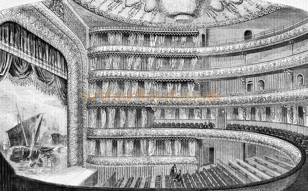 The Auditorium and Stage of the National Standard Theatre in 1867 - From The Builder, 28th of December 1867.