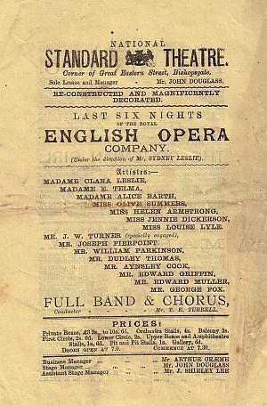 A Programme for the National Standard Theatre for the week of 2nd of March 1885.