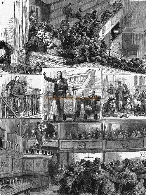 Sketches at a Temperance Hall - The Great Central Hall, Bishopsgate - From 'The Graphic' October 18, 1879. Caption reads: 1. Upstairs: The Twopenny Seats - 2. Recitation - 3. Signing the Pledge - 4. The Bar - 5. Downstairs: A Comic Song.