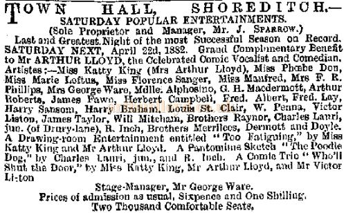 A notice printed in the Era on the 15th of April 1882 advertises the Arthur Lloyd Benefit at the Town Hall, Shoreditch
