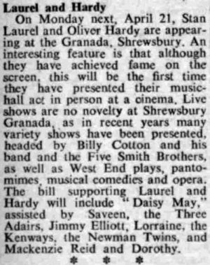 A Review for Laurel and Hardy playing at the Granada, Shrewsbury in 1952 - From the Stage Newspaper, April 17th, 1952.