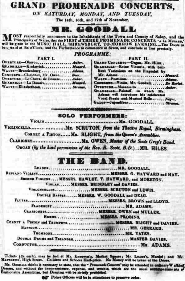 An Advertisement for the opening promenade concerts at the Music Hall, Shrewsbury - From the Shrewsbury Chronicle, 13th November 1840.