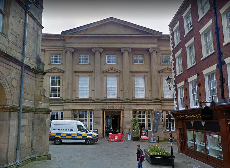 A Google StreetView Image showing the former Shrewsbury Music Hall, today the town's Museum and Art Gallery - Click to Interact.