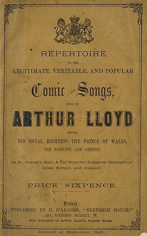Front cover of the Arthur Lloyd Song Book - Click for more information
