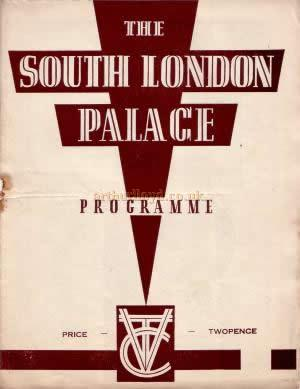 Programme extract for Variety show at the South London Palace July 19th 1937