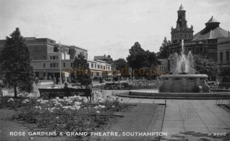 A postcard depicting the Rose Gardens and Grand Theatre, Southampton