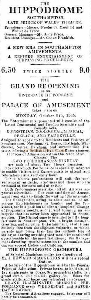 An Advertisement for the opening of the Hippodrome Theatre, Southampton, formerly the Prince of Wales Theatre - From the Hampshire Advertiser, 30th September 1905.