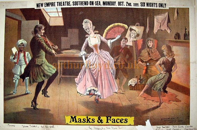 A poster for Ben Greet's Comedy Company entitled 'Masks & Faces' at the New Empire Theatre, Southend on Sea for Monday October the 2nd 1899 - Courtesy Angela Walters.