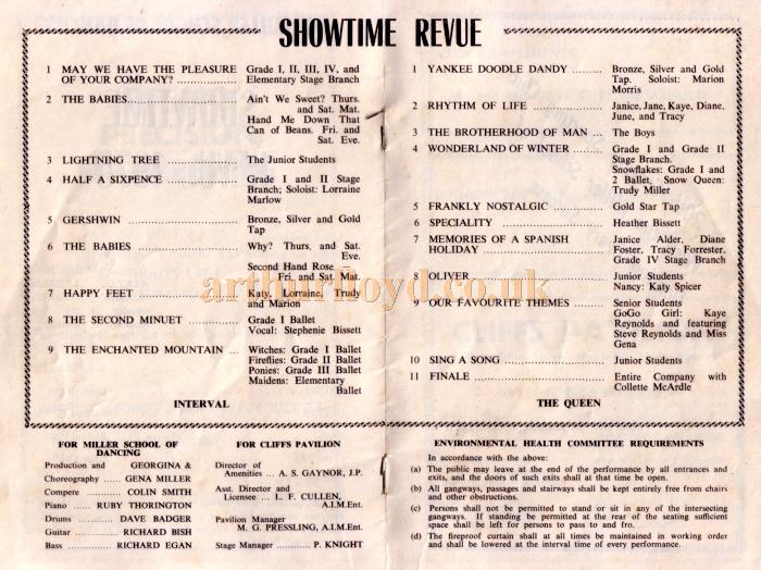 A programme for the Miller School of Dancing's production of 'Showtime Revue 1975' at the Cliffs Pavilion in February 1975 - Kindly donated by Jan Davies.