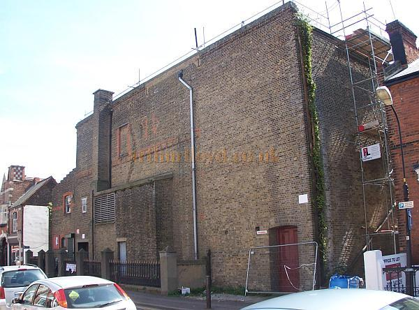 The rear elevation of the New Empire Theatre, Southend in August 2009 - Note the '96' picked out in the brick work which denotes the Theatres rebuild in 1896 - Photo M.L.