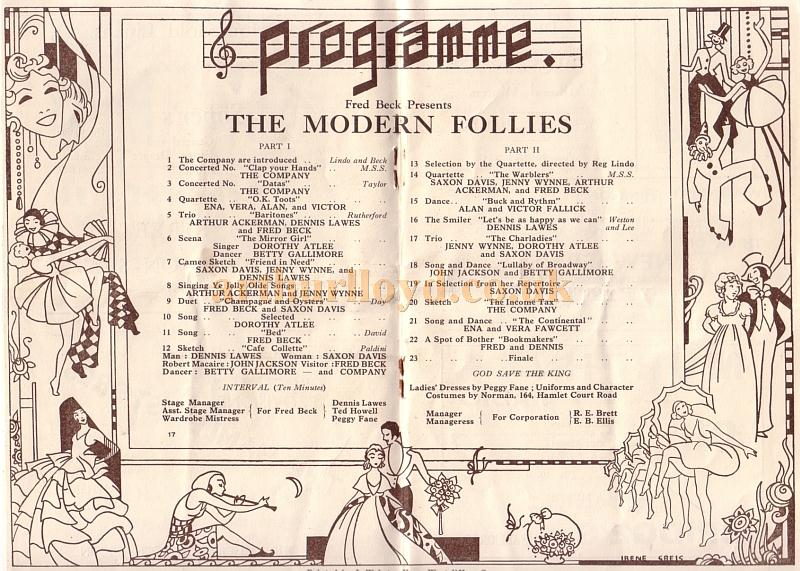 A 1930s programme for Fred Beck' 'The Modern Follies' at the Floral Hall, Westcliff on Sea - Kindly Donated by Jan Davies