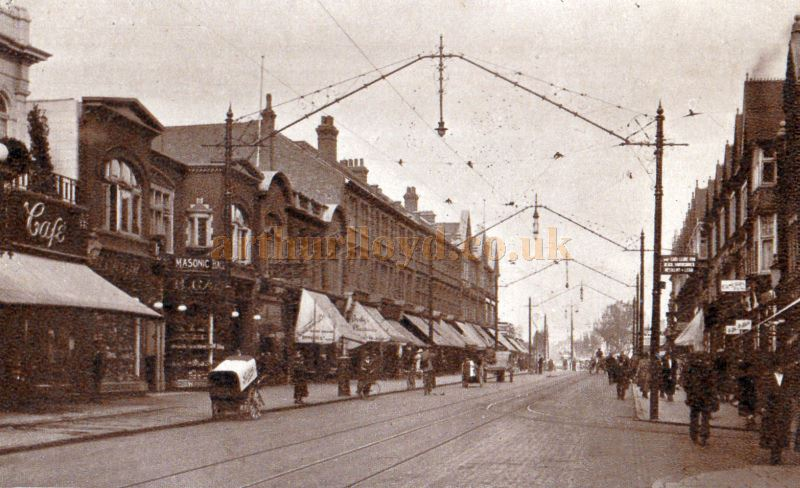 An early postcard showing Southend High Street and Garon's Imperial Bioscope and Masonic Hall