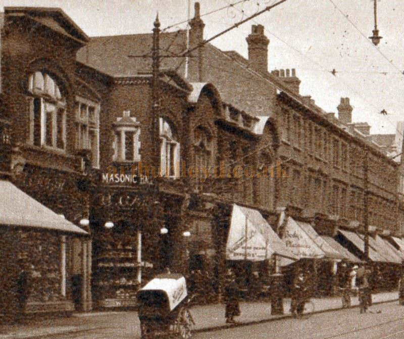 A detail from an early postcard showing Garon's Imperial Bioscope and Masonic Hall, Southend