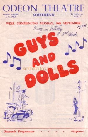 A programme for 'Guys and Dolls' at the Odeon Theatre, Southend in 1955 - Kindly donated by Jan Davies.