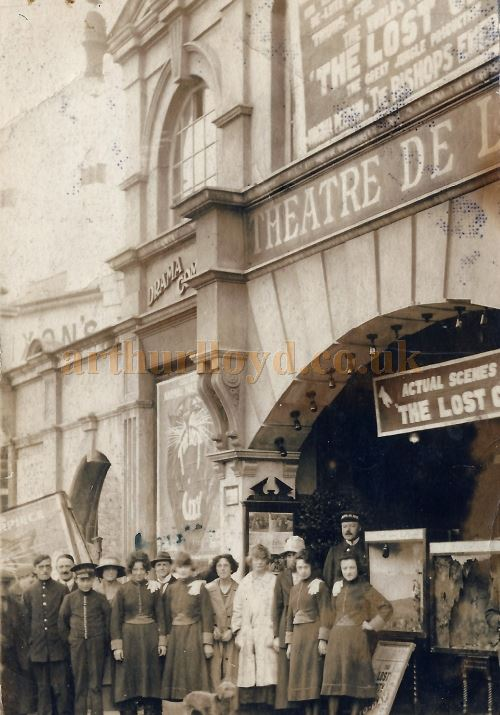 An early photograph of Theatre Staff standing in front of the Theatre De Luxe, Southend during the showing of the silent film serial 'The Lost City' produced in 1920 - Courtesy Graham Mee