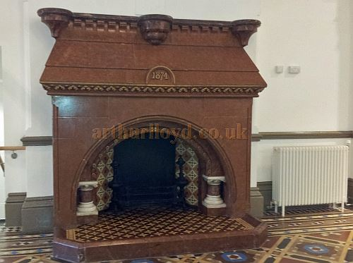 An original fireplace in the Cambridge Hall, Southport bearing the Hall's opening year of 1874, photographed in 2013 - Courtesy George Richmond.