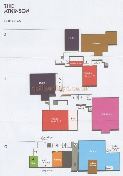 A Floor Plan of the Atkinson Arts Centre in 2013, details below, courtesy the Crosby Archive.