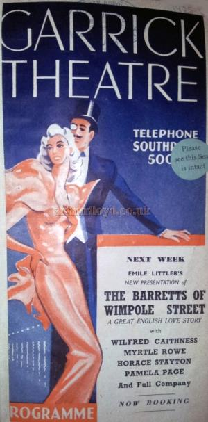 A programme cover for the Garrick Theatre, Southport - Courtesy George Richmond.